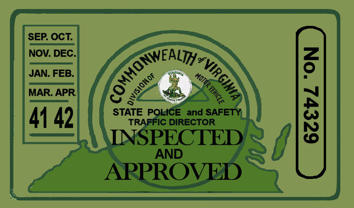1941-42 Virginia Inspection Sticker