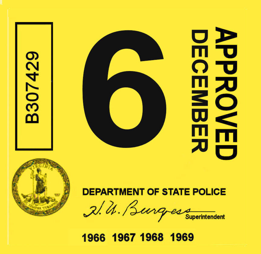 1966-69 Virginia inspection sticker