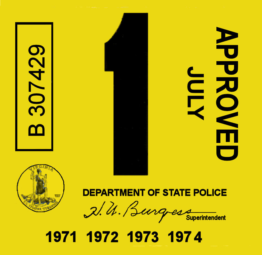 1971-74 Virginia INSPECTION Sticker