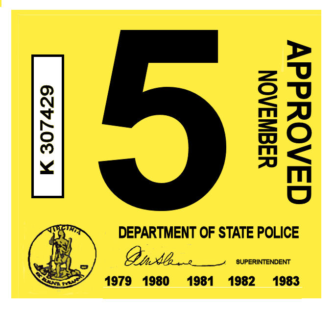 1979-83 Virginia Inspection Sticker