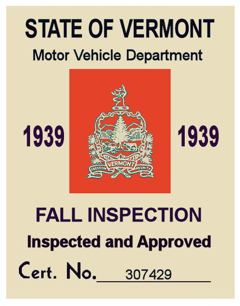1939 Vermont Fall Inspection Sticker