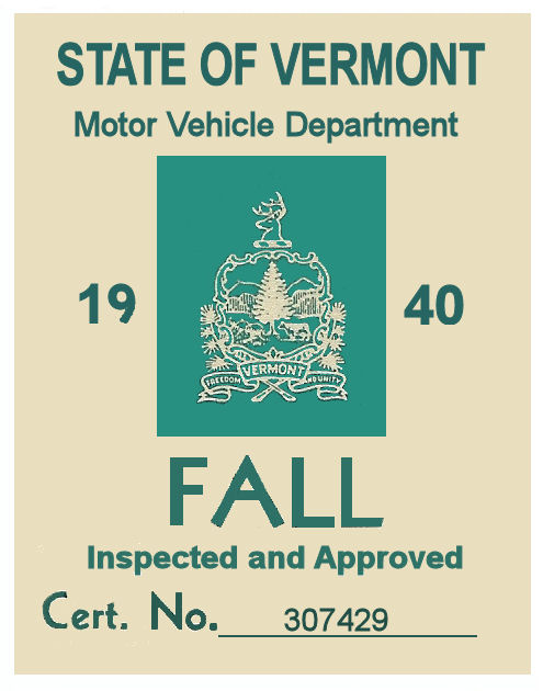 1940 Vermont Fall Inspection Sticker