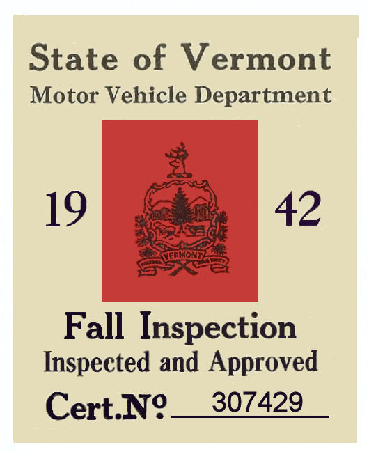 1942 Vermont Fall Inspection Sticker