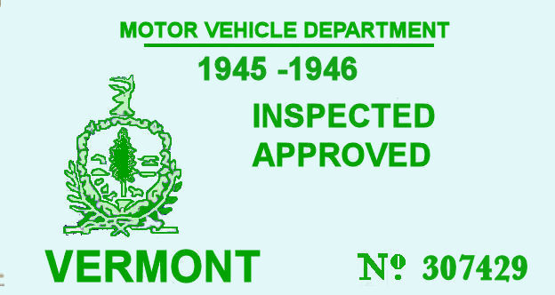1945-46 Vermont Inspection Sticker