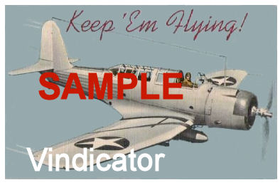 "1942 Keep Em Flying ""Vindicator"" WW2 Sticker"