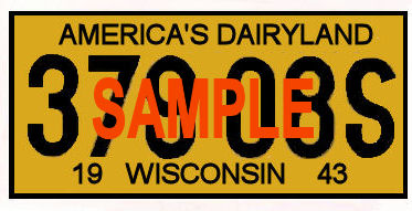 1943 Wisconsin REGISTRATION Sticker