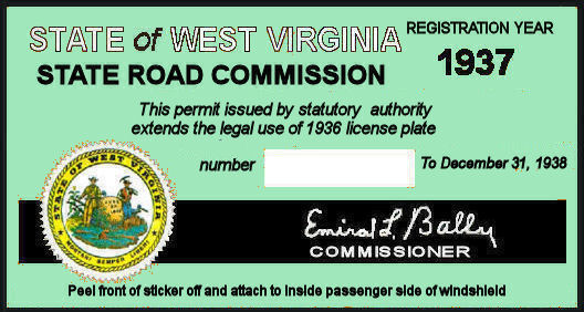 1937 WV registration/inspection sticker