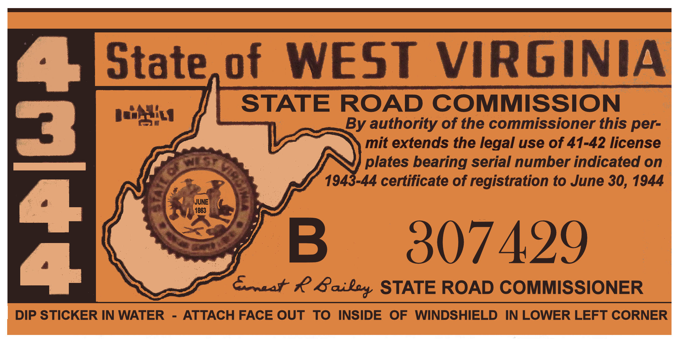 1943-44 WV registration sticker