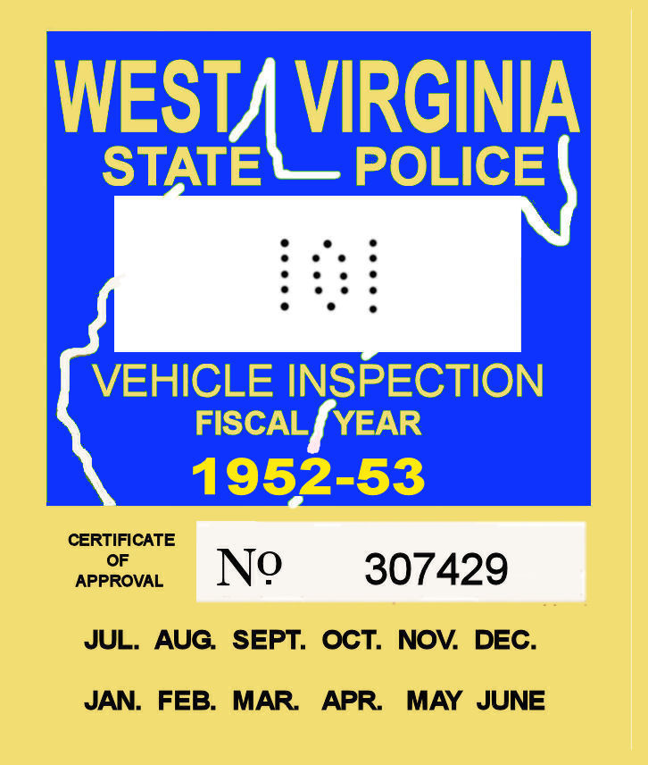 1952 West Virginia inspection sticker