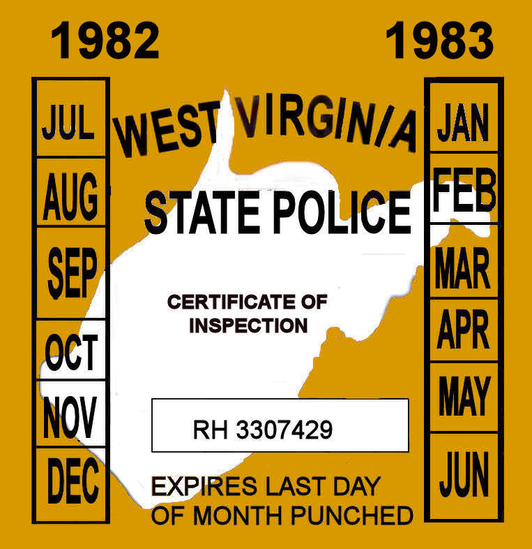 1982-83 West Virginia Inspection sticker