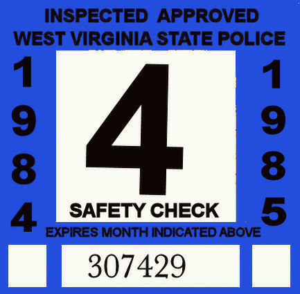 1984-85 WV Safety Check Inspection sticker