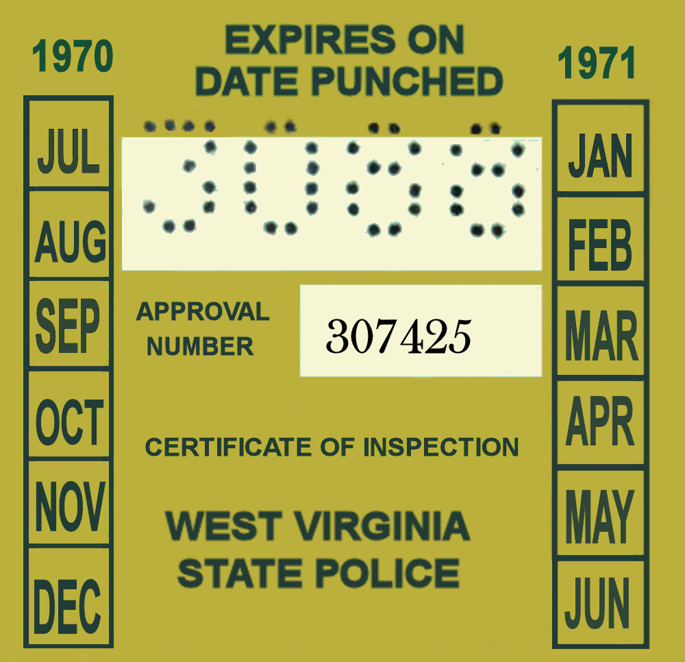 1970-71 West Virginia INSPECTION Sticker