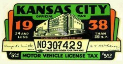 1938 KS tax/inspection KANSAS CITY