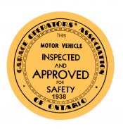 1938 Montreal Inspection Sticker CANADA