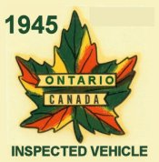 1945 Ontario inspection Sticker CANADA