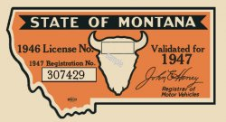 1947 Montana Registration Sticker