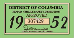 1952 DC inspection sticker
