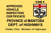 1961 Manitoba inspection sticker