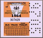 1964 Pennsylvania TRUCK Inspection Sticker