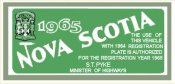 1965 Nova Scotia Registration Sticker CANADA