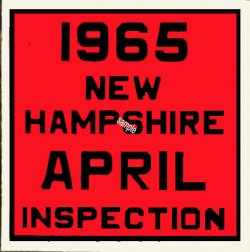 1965 New Hampshire Inspection Sticker