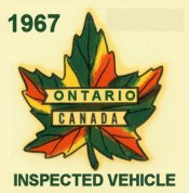 1967 Ontario inspection Sticker CANADA