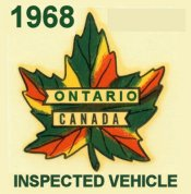 1968 Ontario inspection sticker CANADA