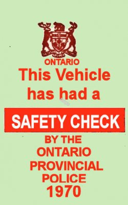 1970 Ontario inspection Sticker CANADA