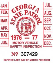 1976 Georgia Inspection sticker