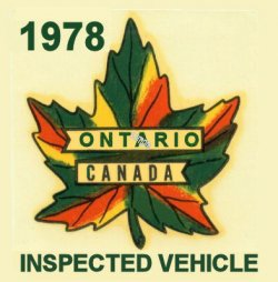 1978 Ontario inspection sticker CANADA