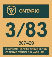 1982-83 Ontario registration/inspection sticker