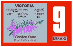 Australia 1984 Victoria Inspection Sticker