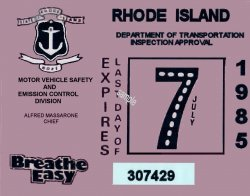 1985 Rhode Island Inspection Sticker