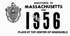 1956 Massachusetts REGISTRATION Sticker