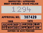 1969-70 West Virginia inspection sticker