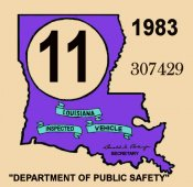 1983 Louisiana Inspection Sticker