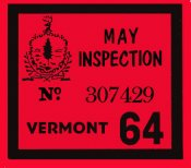 1964 Vermont inspection sticker