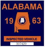 1963 Alabama Inspection Sticker (Auburn)