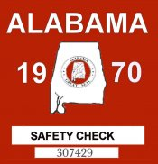 1970 Alabama safety check inspection Sticker