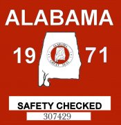 1971 Alabama Safety Check Sticker