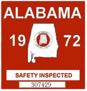 1972 Alabama Safety Check inspection Sticker