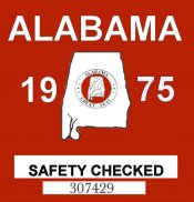 1975 Alabama Safety Checked Sticker
