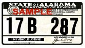 1943 Alabama Registration Sticker