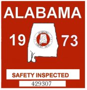 1973 Alabama safety check inspection Sticker