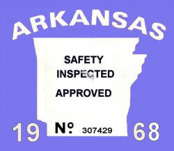 1968 Arkansas safety check inspection sticker