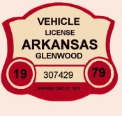 1979 Akansas Registration sticker GLENWOOD