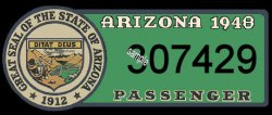 1948 Arizona Registration/inspection sticker
