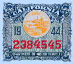1944 California Registration/inspection Sticker