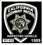1959 California nspection Sticker