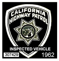 1962 California inspection Sticker